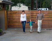 Balau Timber Driveway Sliding Gate with Aluminium Frame