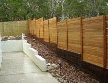 Horizontal Balau Timber Fence with Sleeper Base