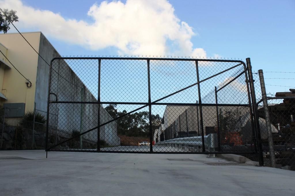 Powder coated black PVC double swing gate at Abarent Kunda Park